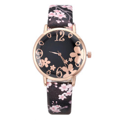 Pretty Flower Colorful Faux Leather  Watches - Black