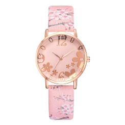Pretty Flower Colorful Faux Leather  Watches - Pink