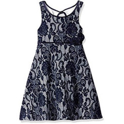 Bonnie Jean Girls Jean Textured Knit Print Aline Dress - Girls 4-6