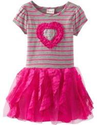 Nannette Little Girls Stripped Heart Dress -  2 /3years