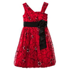 My Michelle Girls Floral  Flocked Bubble Dress ( 4 -5 ) years