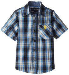 U.S. Polo Assn. Little Boys' Short Sleeve Blue Plaid Shirt