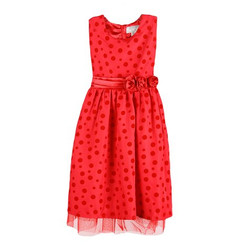 Richie House Little  Girls' Polka Dotted Dress with Waist Flower