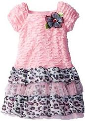 Youngland Little Girls' Eyelash Dropwaist Leopard Fashion Dress