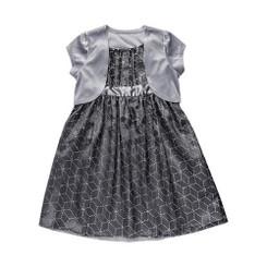 Emily West Little Girls Silver Rhinestone Prism Babydoll Dress & Shrug - Girls 4 - 6X
