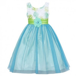 Rare Editions Girls Floral Soutach Bodice To Mesh Skirt. - Toddler
