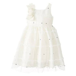 Jayne Copeland  Party Dress with Corsage At Shoulder, Ivory 4/5Yrs