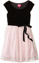 PINKY Big Girls' Velvet Dress with Mesh Skirt