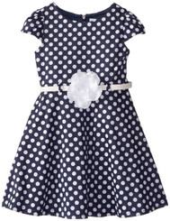 SWEET HEART ROSE Little Girls' Polka Dot Ponte Fashion Dress.