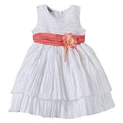 Blueberi Boulevard Toddler Girls' Tiered Rosette Detail Dress - White