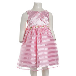 SWEET HEART ROSE PLEAT STRIPE DRESS - Girls 4-6