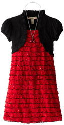 Speechless Little Girls' Eyelash Dress with Shrug. 4Years