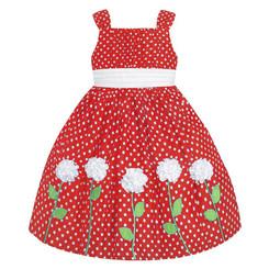 American Princess  Little Girls Shantung Dress wht Rosette Accents (Red)- Toddler