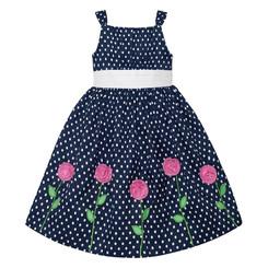 American Princess  Little Girls Polka Dot Emma Rose Dress ( Blue )