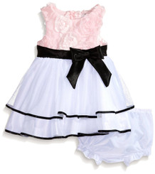 Rare Editions Baby Girls Pink Soutach To White Mesh Social Dress - (12/18mths )