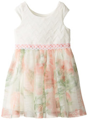 Jayne Copeland Little Girls' Textured Knit-Floral Mesh