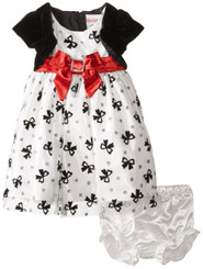 Nannette Baby Girls' 2 Piece Satin Mesh Glitter Dress with Panty -9/12M