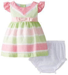 Rare Editions Baby Baby Girls' Striped Linen Dress ( 12M-18M)