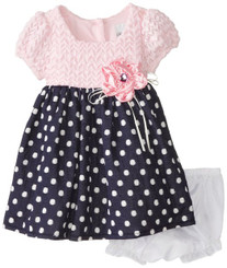 Rare Editions Baby Baby Girls' Pink Navy Dot Dress -  Pink-Navy ( 12/18Mths )