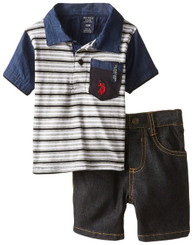 U.S. Polo Assn. Baby Boys Pocket Polo and Denim Short Set, Black- 9/12M