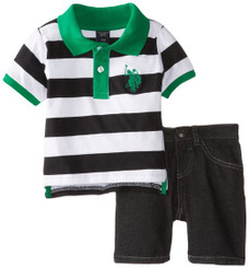 U.S. Polo Assn. Baby Boys  Wide Stripe Pique Polo and Denim Short Set - Green 12/18Mths