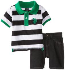 U.S. Polo Assn. Baby Boys  Wide Stripe Pique Polo and Denim Short Set - Green 12/18Mths