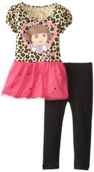 Little Girls' Dora 2 Piece Print Short Sleeve Legging Set, Brown - 4 Yrs