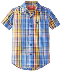 Izod Little Boys' Short Sleeve Woven Plaid Shirt -Multi -  Boys 7 Yrs