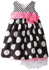 Nannette Baby Girls' Shantung Sparkle Striped Bodice