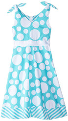 Rare Editions Big Girls' Mint Dot Woven Dress