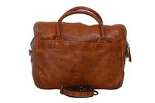Washed Leather Tan Leather messenger laptop Bag