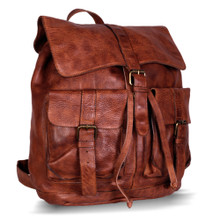 KomalC Leather backpack rucksack travel laptop camping school college bag for men and women