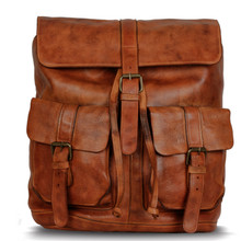 KomalC Leather backpack rucksack travel overnight travel laptop camping school college bag for men and women