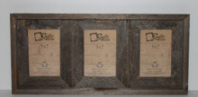 5x7 Rustic Reclaimed Barn Wood Triple Opening Frame