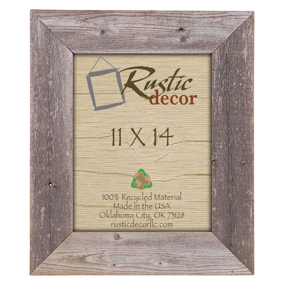 11x14 Rustic Reclaimed Barn Wood Extra Wide Wall Frame - Rustic Decor