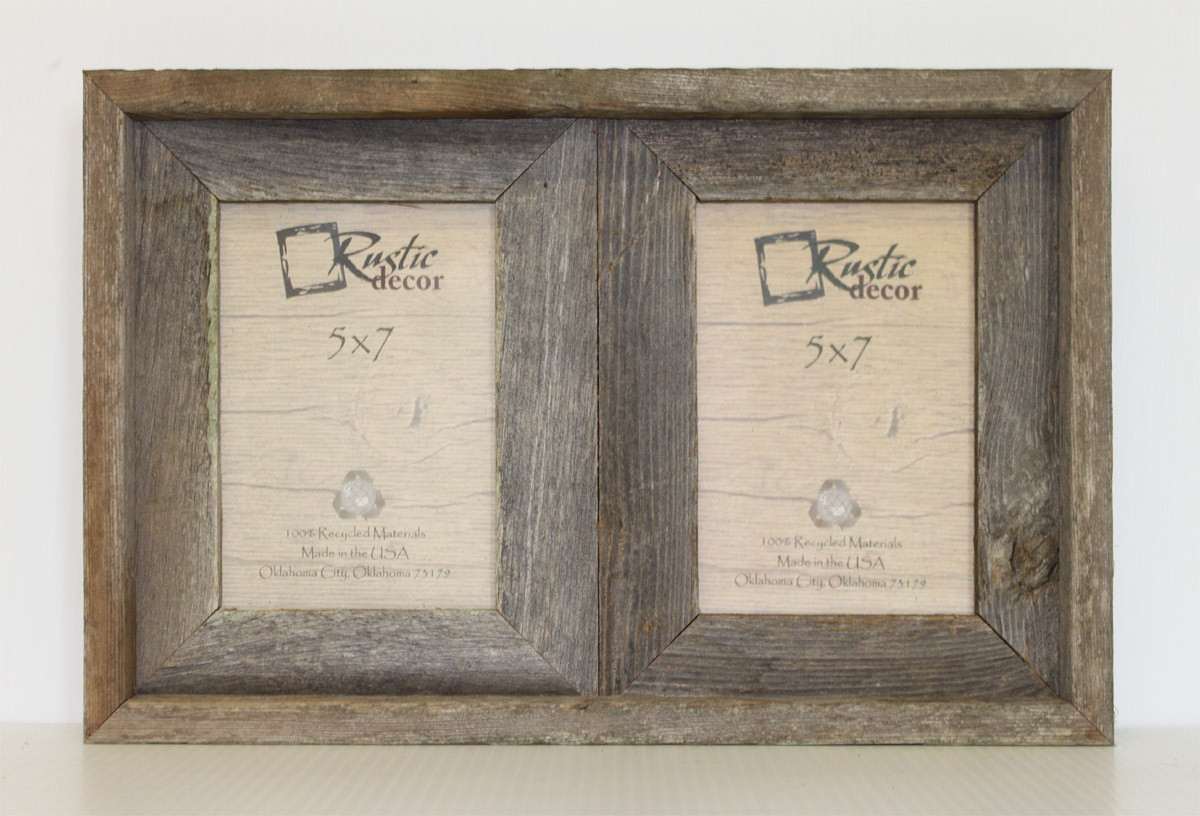 5x7 Rustic Reclaimed Barn Wood Double Opening Frame - Rustic Decor
