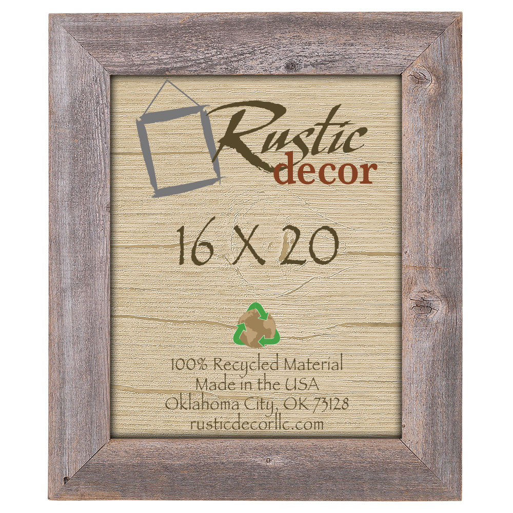 16x20 Rustic Reclaimed Barn Wood Extra Wide Wall Frame - Rustic Decor