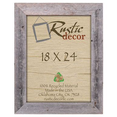 18x24 Rustic Reclaimed Barn Wood Extra Wide Wall Frame - Rustic Decor