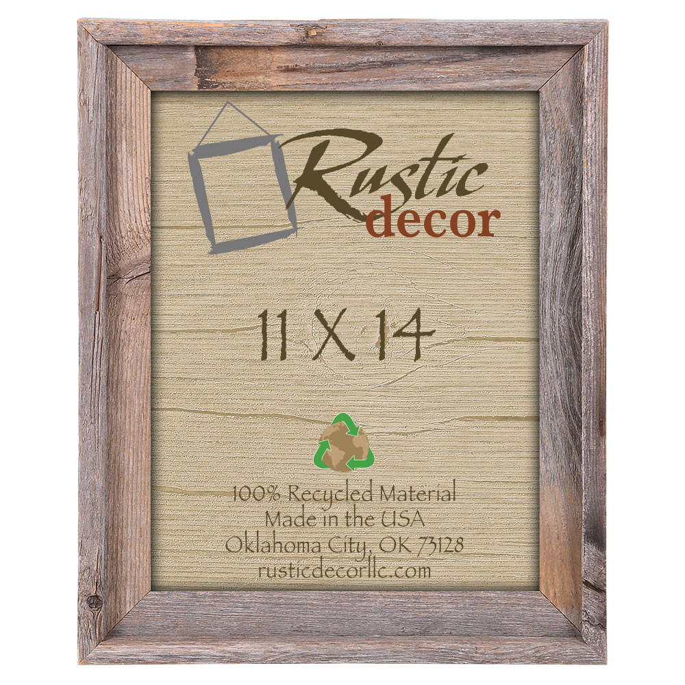 11x14 Rustic Reclaimed Barn Wood Signature Wall Frame - Rustic Decor