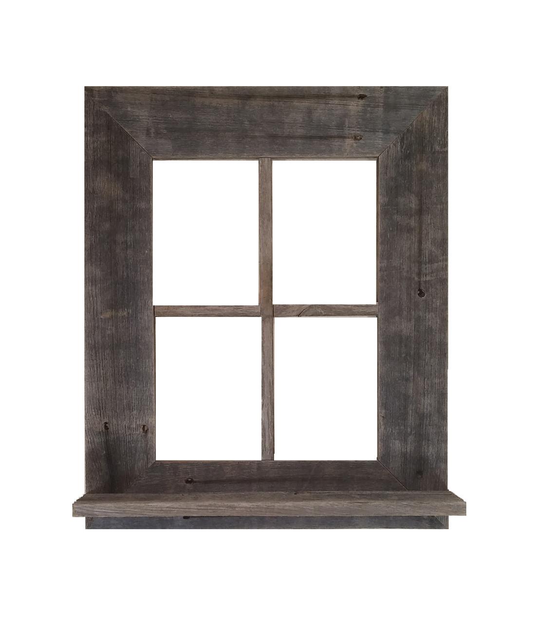 Rustic Barn Wood Window Frame With Shelf Rustic Decor