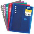 3-Hole Punched Plastic Translucent Pocket Hook/Loop 1/pkg -  5 Color Choices