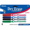 Dry-Erase Markers Fine Tip 4/pk - Black, Blue, Green, Red BAZIC
