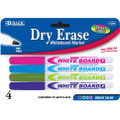 Dry-Erase Markers Fine Tip 4/pk - Pink, Sky Blue, Lime, Purple BAZIC
