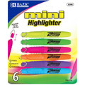 Fluorescent Mini Highlighters Pen-Style 6/pk - Assorted BAZIC