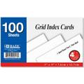Grid white index cards 3x5 100/pk