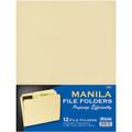 Manila File Folders Letter-Size 1/3 Cut 12/pk