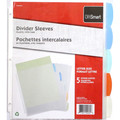 Clear Economy Sheet Protectors with 5 Write-On Color Index Tabs - 5 Sheets OFFiSMART