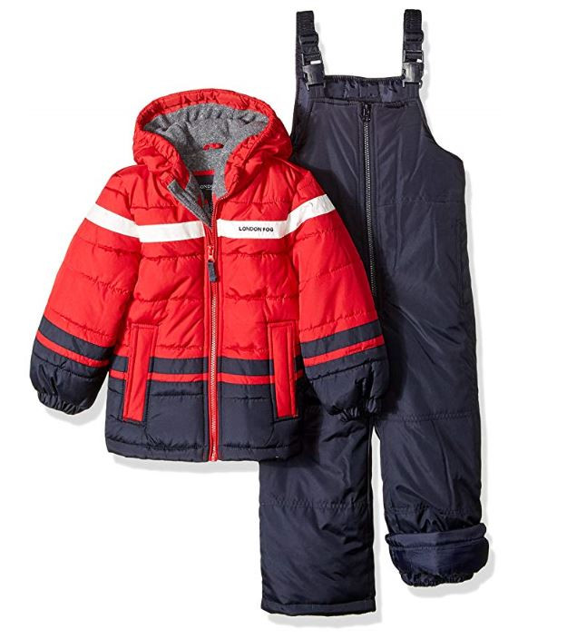270901020 London Fog 4-7 Boys 2pc Fleece Lined Bib Snowsuit Red/Navy. Image 1. Hover  over image to zoom