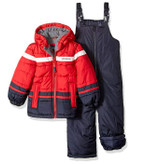 London Fog Toddler Boys 2-Piece Snowsuit w/snow bibs Red/Navy Color Block