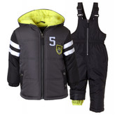 Ixtreme 4-7 Boys 2-Piece Colorblock Bib Snowsuit Charcoal